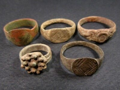 LOT of 5 pcs. ANCIENT ROMAN, BYZANTINE AND MEDIEVAL FINGER RINGS+