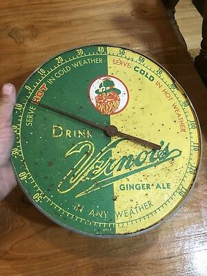 Vernor's 12 inch thermometer model 495a Patina As Is Great Display Vintage Metal