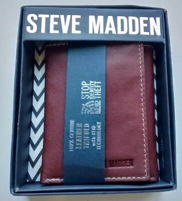 3bebc742f8 STEVE MADDEN Men's TriFold Wallet 100% Genuine Brown Leather RFID  Protection NEW