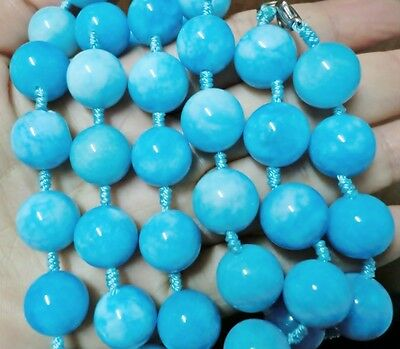 """GORGEOUS 24"""" 12MM SKY BLUE JADE BEADS HAND-KNOTTED NECKLACE 38 pcs beads"""