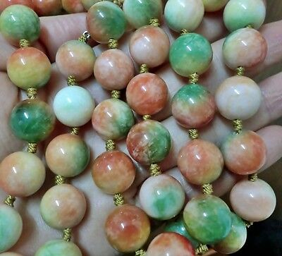 """GORGEOUS 24"""" 12MM TRI COLOR JADE BEADS HAND-KNOTTED NECKLACE 38 pcs beads"""