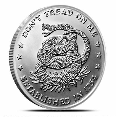 1 - 1 oz .999 Silver Round - Don't Tread on Me - Eternal Vigilance -  BU