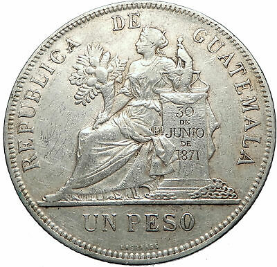 1897 GUATEMALA Large Silver PESO with Scroll LIBERTY Antique Coin i73784