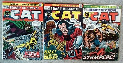 Claws Of The Cat # 2, 3, 4 (1972)  Marvel Bronze Age JOHN ROMITA