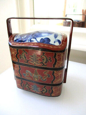 VINTAGE CHINESE Stacable 3 Tear lunch box  HAND PAINTED WOOD AND PORCELAIN