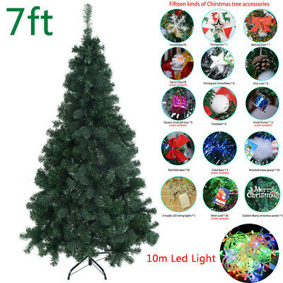 5/6/7 Ft Christmas Artificial Tree Xmas Indoor Outdoor Green Tree Decor W/Stand