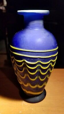 Wonderful Art Glass Vase In Blue Yellow And White