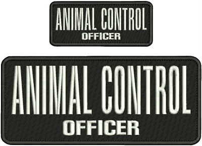 Animal Control Officer Embroidery Patch 4X10 & 2X5 Hook On Back Blk/white