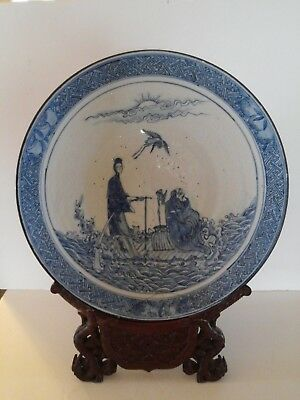 Chinese Blue and White Kangxi Charger Plate &Rosewood Stand & Old Both Repaired