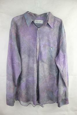 Vintage 80s NEW WAVE Surf Electro BATIK DYE BUTTON UP L/S SHIRT L Indie Grunge
