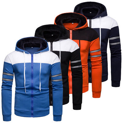 Mens Plain Hoodie Coloured Hooded Zip Up Jacket Men Warm Fleece Sweatshirt Tops