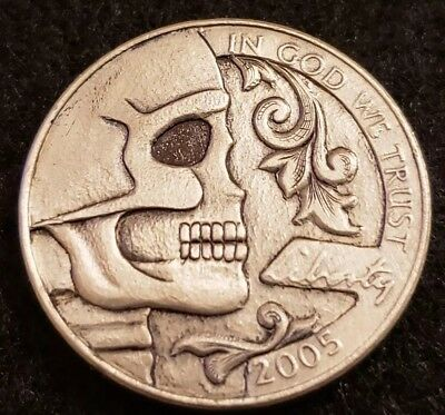 2005 hobo nickel.  Hand carved by Joey's Carved Art.  Skulls and Scrolls. Signed