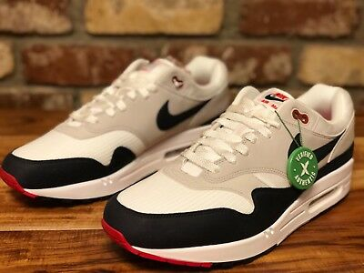 aad9be71207 NIKE AIR MAX 1 Anniversary Obsidian 2017 White Black Mens Size 12-13 ...