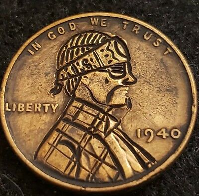 1940 hobo nickel penny. Bandito with headband. Signed by artist. Hand carved