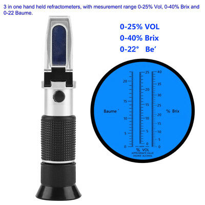 Portable Sugar Wine Beer Fruit Scale Refractometer Alcohol Meter Test Tool Set