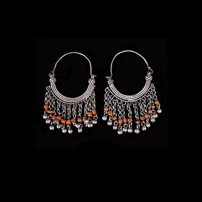 Pair of Pashtun silver tribal earrings with coral beads. x6004