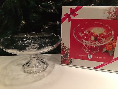 Soga  Crystal Etched Flower Scalloped Edge Garden Terrace Pedestal Candy Dish