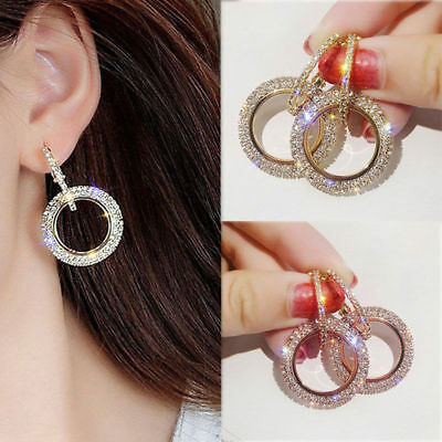 Fashion Women Luxury Round Earrings Crystal Geometric Hoop Earrings Jewelry Gift