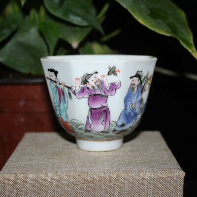 Chinese Old Marked Famille Rose Colored Eight-Immortals Pattern Porcelain Cup