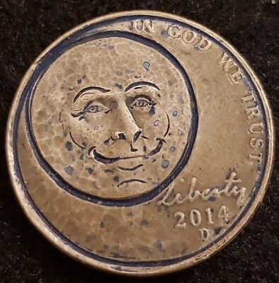 2014 hobo nickel.  Blue man in the moon. Signed by artist. Hand carved dual side
