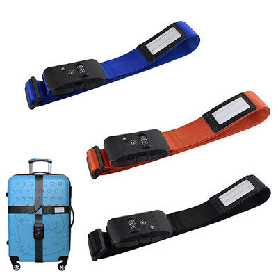Adjustable TSA Travel Luggage Cross Style Suitcase Belt Protector Strap w/ Lock