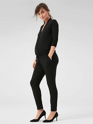 Gap Maternity Long Sleeve Wrap Jumpsuit Size S- Black- NWT