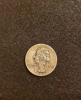 Look closely at this unique hobo nickel quarter! Hand carved with COA.