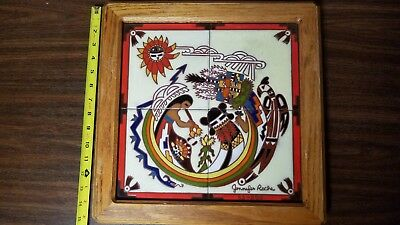 Vintage Jennifer Roche Hand Painted Framed Tiles Native Southwest Hopi 15X15