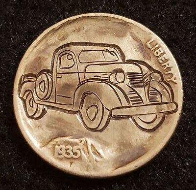 """1935 hobo nickel.  """"Old Pickup"""" hand carved and signed by Sue."""