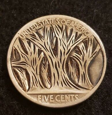 """1927 hobo nickel.  """"The Woods"""" hand carved and signed by Sue."""