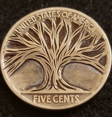 """1936 hobo nickel.  """"Mighty"""" hand carved and signed by Sue."""
