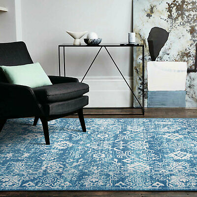 Floor Rugs Teal Auqa Blue Allover Persian Bedroom Bedsides Carpet Mat 160x230cm