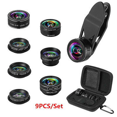 9 in 1 Professional Phone Camera Lens Kit Clip On For iPhone Samsung Smartphone