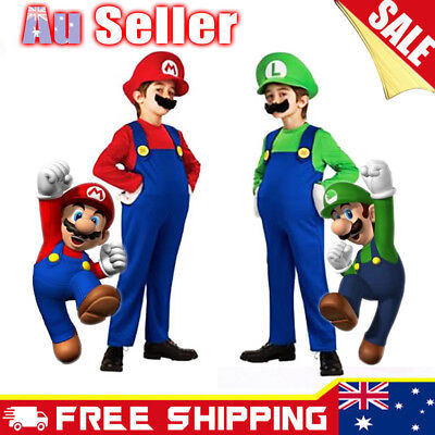 Kids Super Mario Brothers Luigi Fancy Dress Boys Girl Halloween Party Costume AU