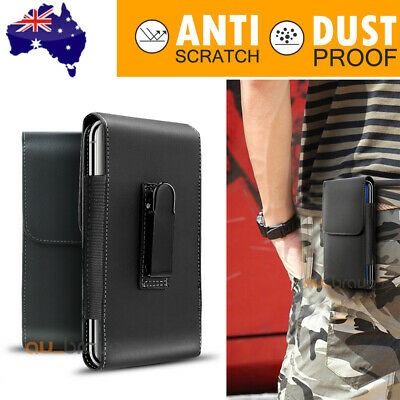 For iPhone 11 Pro XS Max Samsung S10 Leather Case Holster Pouch with Belt Clip