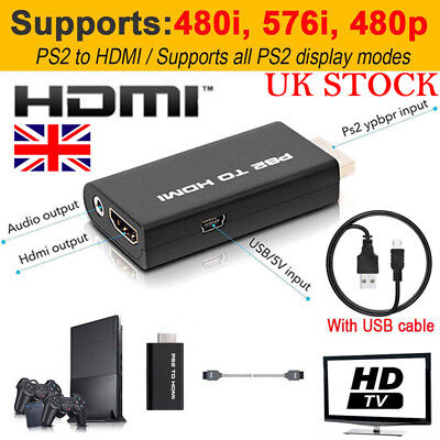For Sony Playstation 2 PS4 PSX to HDMI Converter Adapter Adaptor Cable HD USB UK
