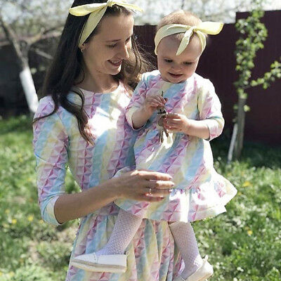 Mommy and Me Family Matching Stripe Dress Mother Daughter Sundress for Kid Women