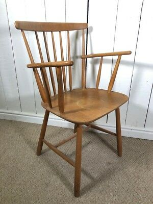 Vintage Retro Style Arm Chair. Solid Wood Mid Century Carver Chair