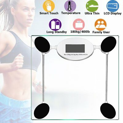 Square Digital LCD Electronic Glass Body Bathroom Gym Weight Scales 180kg