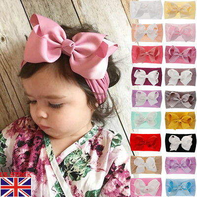 UK Toddler Girl Kid Baby Big Bow Hairband Headband Stretch Turban Knot Head Wrap