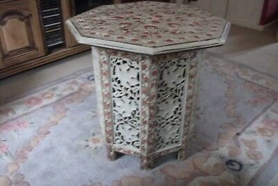 Refurbished 19th Century Eastern Hardwood Carved Octagonal side Table