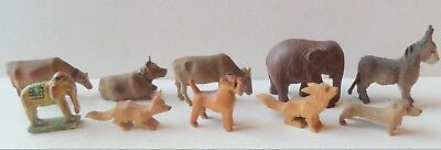 Antique/vintage Carved Wooden Dolls House Size Lot Of Ten Animals