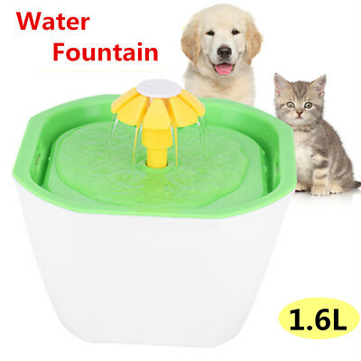 Flower Automatic Electronic Pet Cat Dog Drink Water Fountain Carbon Filter 1.6 L