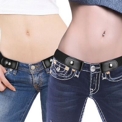 Unisex Invisible Belt for Jeans Comfortable Buckle free Elastic Fashion Black