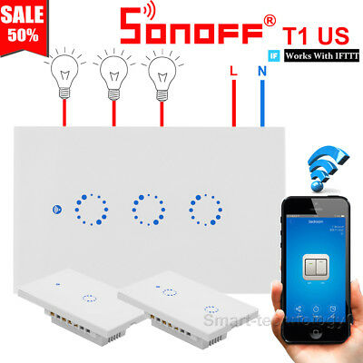Sonoff T1 US 1/2/3 Gang Smart Touch Light Switch WiFi RF APP Remote Ctrl For IOS