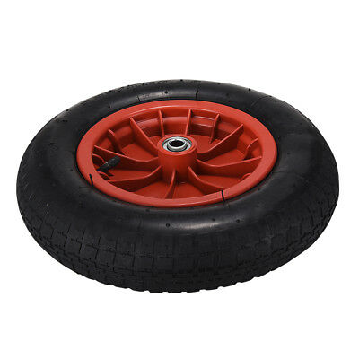 "PU 14"" Puncture Proof RED Wheelbarrow Wheel Tyre 3.50 - 8 Light Weight"