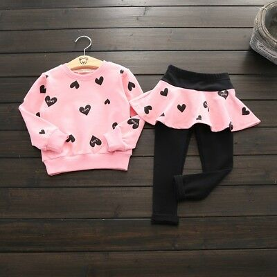 Kids Baby Girls Clothes Heart Sweatshirt Tops Skirt Pants Tracksuit Outfits Set
