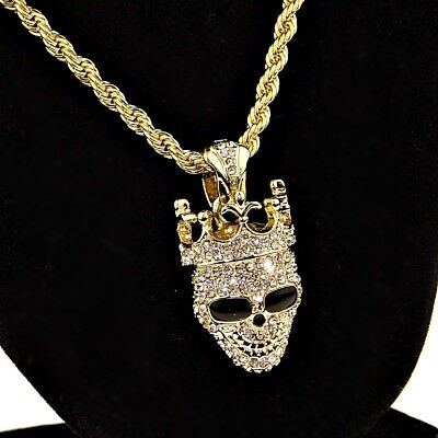54daca7bc17e4 SMILEY CROWN SKULL Rope Chain Bling Pendant Gold Finish Hip Hop Necklace  24