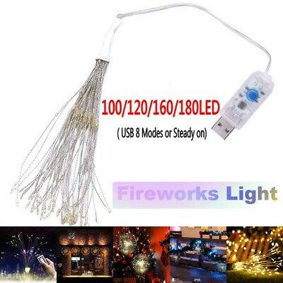 USB Firework 180LED Copper Fairy Wire String Lights Christmas Party Decor 8Modes