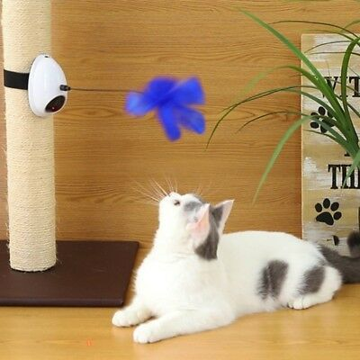 Automatic Pet Cat Kitten Electric Laser Toy with Feather Teaser Interactive Toys